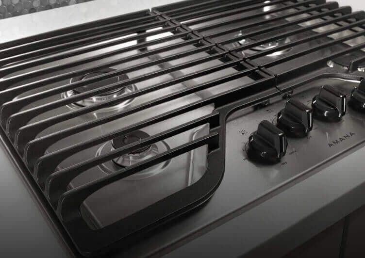 A close-up of the cooktop's controls.